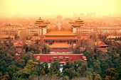 pic of emperor  - Aerial view of Beijing with historical architecture - JPG