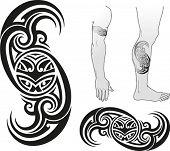 pic of maori  - Traditional Maori tattoo design with Taniwha face in a swirl - JPG