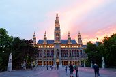 Tall gothic building of Vienna city hall Austria