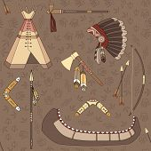 image of wigwams  - Seamless vector Indian pattern can be used for graphic design - JPG