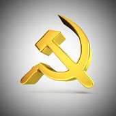 foto of communist symbol  - Golden socialism symbol on a grey backdrop - JPG
