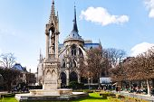 Notre-dame And Fountain Of Archdiocese In Paris