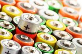 stock photo of waste disposal  - Composition With Alkaline Batteries - JPG