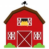foto of farmhouse  - Cute Red Vector Barn with Hay - JPG