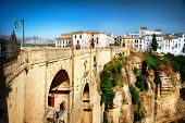 Ronda, Spain. Panoramic view of the old city of Ronda, the famous white village and the New Bridge.