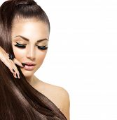 stock photo of ponytail  - Beauty Fashion Model Girl with Long Healthy Hair - JPG