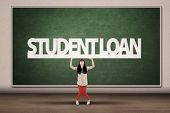 stock photo of degree  - Young asian college student hold a sign of student loan - JPG