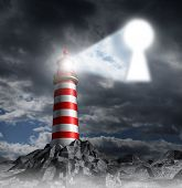 stock photo of lighthouse  - Guidance key business concept with a lighthouse beacon tower shinning a guiding light shaped as a key hole on a stormy dark background sky as a symbol of hope and finding solutions - JPG