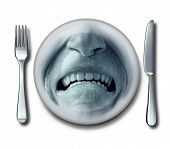 image of grossed out  - Bad service experience at an awful restaurant with a fork and knife and a plate whith a disgusted grossed out and disgruntled customer expression that has nausea or food poisoning - JPG