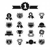 award, label icons, signs set, vector