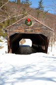 image of covered bridge  - Covered Bridge in the Winter located in the White Mountains of New Hampshire - JPG