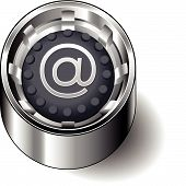Rubber button round email ampersand