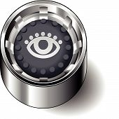 Rubber button round look eye see