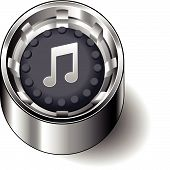 Rubber button round music note