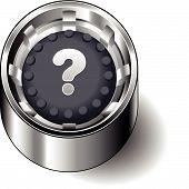 Rubber button round question mark