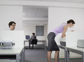 pic of indecent  - Pervert businessman watching female colleague in office - JPG