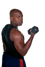 pic of lifting weight  - Portrait of young african american bodybuilder doing exercise - JPG