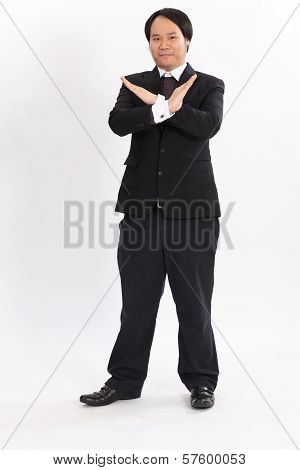 Isolated Business Man Show X Symbol On Overwhite Background