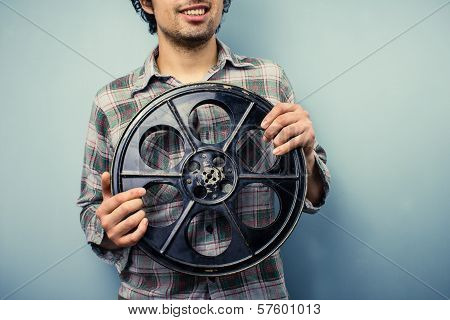 Hipster With Old 35mm Film Reel