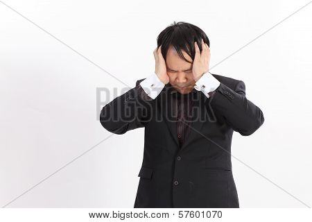 Isolated Business Man Having A Headache,serious