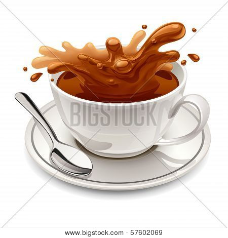 Hot chocolate splash in white cup