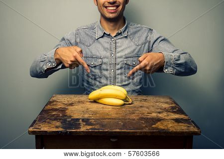 Man Pointing At Bananas At Old Desk