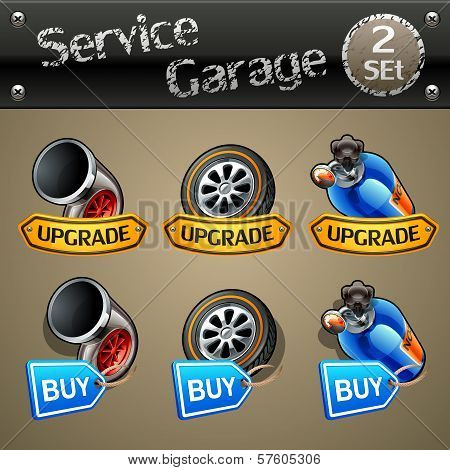 Upgrade and buy parts icons for race game-set 2