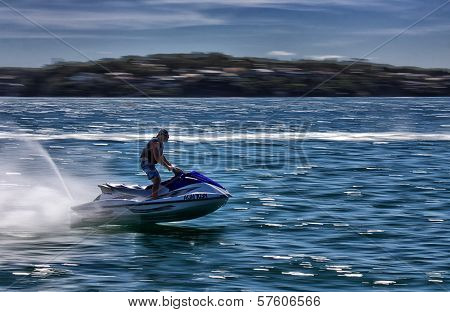 Fast jet ski fun in Bundeena Bay, Australia