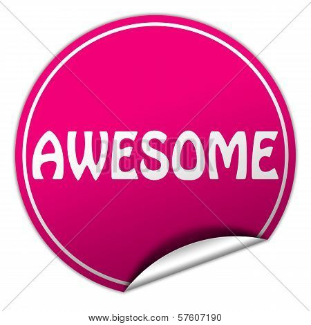 Awesome Round Pink Sticker On White Background