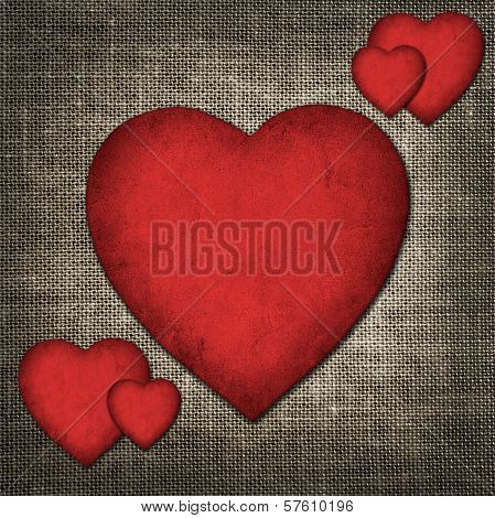 Vintage Valentine Card In The Form Of Red Paper Hearts
