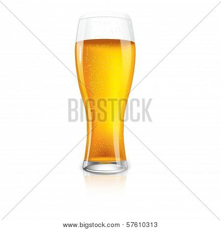 Excellent Isolated glass of beer with drops.