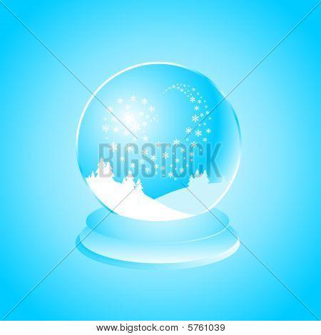 Snow globe snowlakes heart