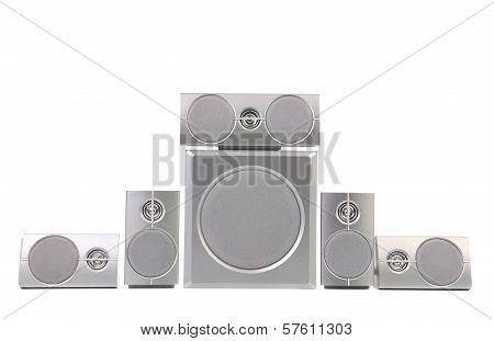 Set of gray sound speakers.