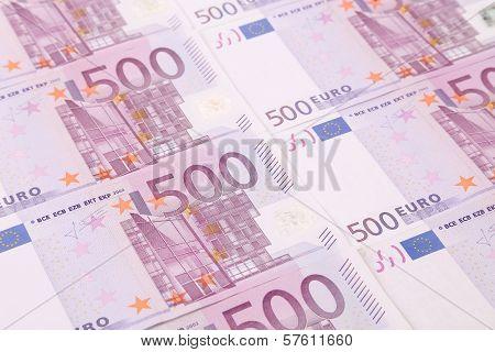 Close up of five hundred bills.