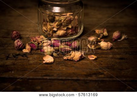 Close Up On Dried Rosebuds