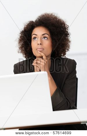 African American Businesswoman Thinking