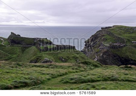 Cliff top view of Tintagel castle in Cornwall, UK