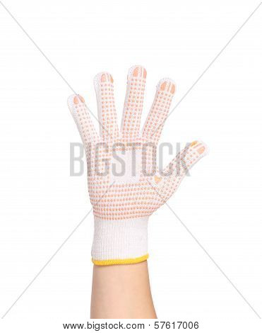 Thin work glove with red pimple.
