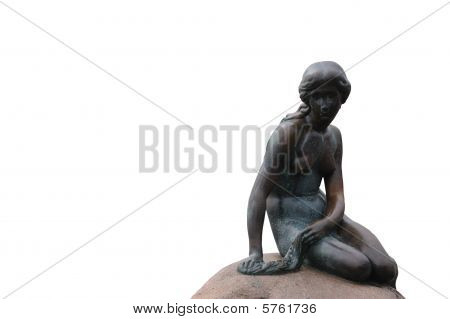Statue Of The Little Mermaid In Copenhage Isolated