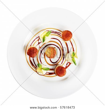 Fried Scallops On Plate (white Background)