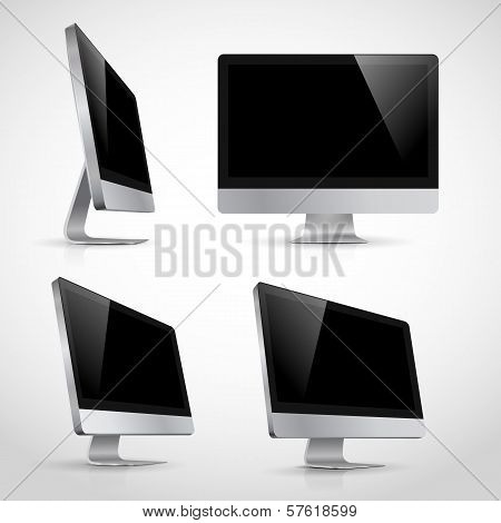 Vector illustration of computer monitor in various positions