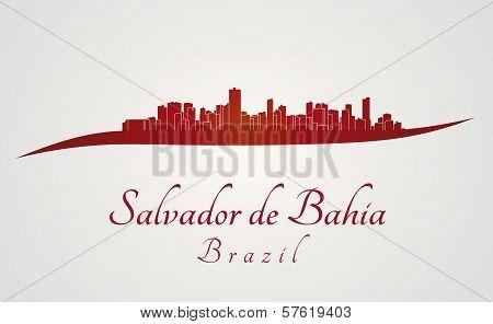 Salvador De Bahia Skyline In Red