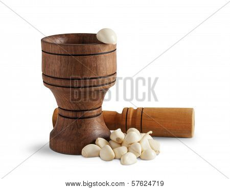 Garlic And Wooden Mortar