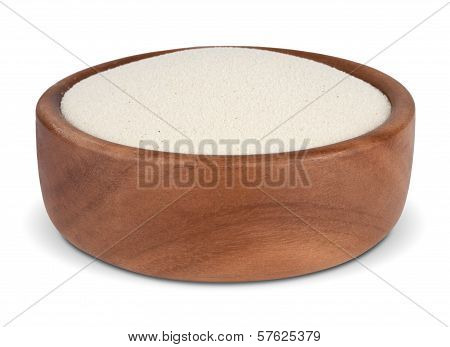 Semolina In A Wooden Bowl