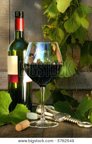 Still Life With Red Wine Bottle And Glass