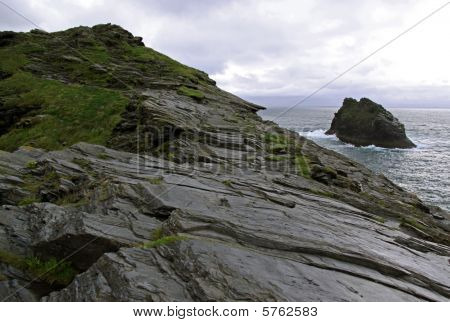 Beautiful coast view of cliffs and island in the English Channel in Cornwall, UK