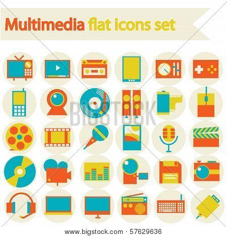 Multimedia Flat Icons Set