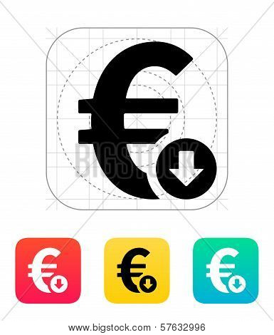 Euro exchange rate down icon.