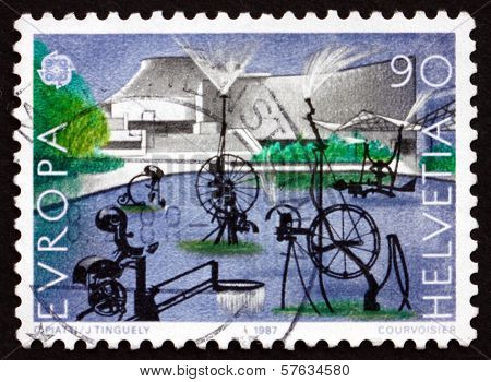 Postage Stamp Switzerland 1987 Carnival Fountain, 1977, Sculpture