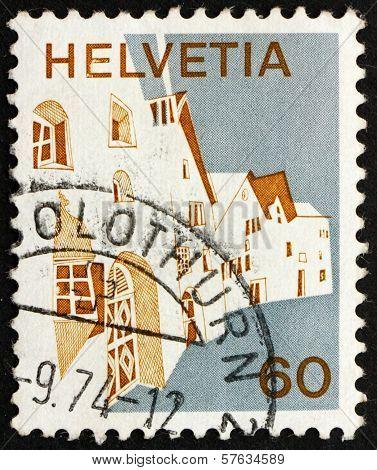 Postage Stamp Switzerland 1973 Village In Engadine
